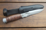 Нож  Кайман, рукоять кожа/латунь, покрытие антиблик