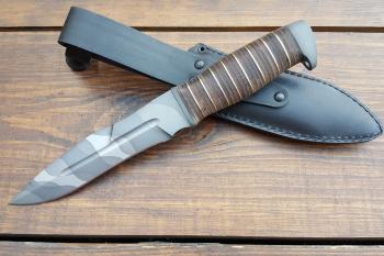 """Нож туристический """"Антитеррор-Р"""", рукоять кожа/латунь, покрытие камуфляж"""