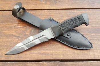 "Нож туристический ""Антитеррор-Р"", рукоять термоэластопласт (резина), покрытие камуфляж"