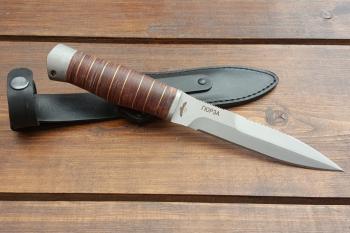 """Нож туристический """"Гюрза"""", рукоять кожа/латунь, покрытие антиблик"""