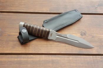 """Нож туристический """"Каратель-Р"""", рукоять кожа/латунь, покрытие антиблик"""