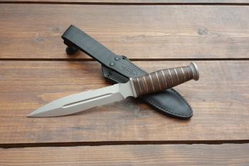 """Нож туристический """"Шайтан"""", рукоять кожа/латунь, покрытие антиблик, с упрочнением режущей кромки"""