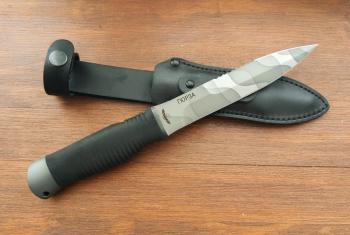 """Нож туристический """"Гюрза"""", рукоять термоэластопласт (резина), покрытие камуфляж"""
