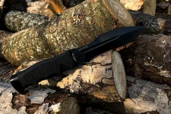 """Нож туристический """"Каратель-Р"""", рукоять термоэластопласт (резина), покрытие черный хром"""