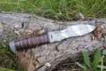 Нож  Каратель-Р, рукоять кожа/латунь, покрытие камуфляж