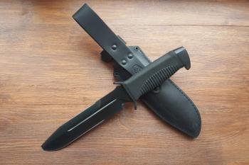 """Нож туристический """"Катран-2"""", рукоять термоэластопласт (резина), покрытие черный хром"""