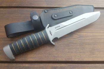 """Нож туристический """"Катран-2"""", рукоять кожа/латунь, покрытие антиблик"""