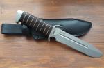 Нож  Катран-3, рукоять кожа/латунь, покрытие антиблик