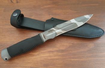 "Нож туристический ""Кайман"", рукоять термоэластопласт (резина), покрытие камуфляж"