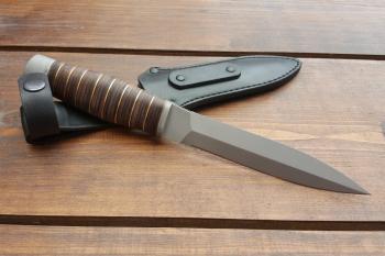 """Нож туристический """"Кобра"""", рукоять кожа/латунь, покрытие антиблик"""