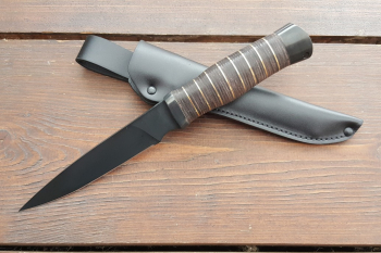 """Нож туристический """"Пермяк"""", рукоять кожа/латунь, покрытие черный хром"""