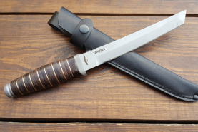 Нож  Самурай, 190 мм, рукоять кожа/латунь, покрытие антиблик
