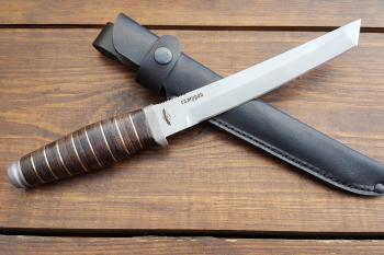 """Нож туристический """"Самурай"""", 190 мм, рукоять кожа/латунь, покрытие антиблик"""