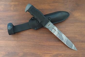"""Нож туристический """"Витязь"""" 170 мм, рукоять термоэластопласт (резина), покрытие камуфляж"""