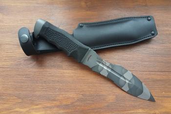 """Нож туристический """"Каратель-Р"""", версия """"ВЗМАХ"""", рукоять термоэластопласт (резина), покрытие камуфляж"""