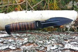 Нож  Каратель-Р, версия ВЗМАХ, рукоять кожа/латунь, покрытие черный хром